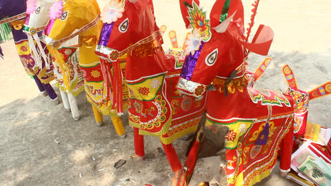 paper horses for gods in asia Footage