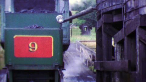 1964: Historic Number 9 Cog Railroad building up steam for travels Footage