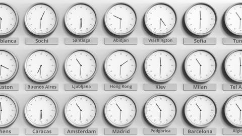 Round clock showing Hong Kong, China time within world time zones. 3D animation Live Action