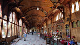 Wooden walking Hall in a Spa House. Swieradow Zdroj - spa town in Poland Live Action