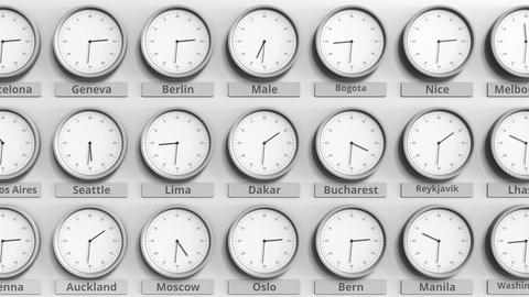 Round clock showing Dakar, Senegal time within world time zones. 3D animation Footage