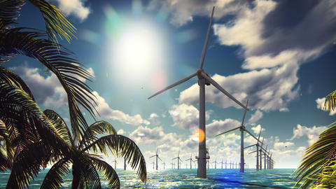 Offshore windmill farm in the sea, windmills isolated in the sea on a beautiful Animation