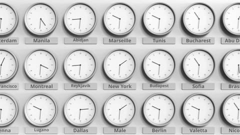Round clock showing New York, USA time within world time zones. 3D animation Live Action