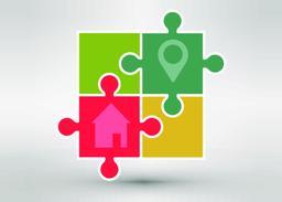 Abstract locations logo. Vector logotype design Vector