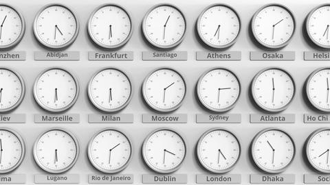 Round clock showing Moscow, Russia time within world time zones. 3D animation Footage