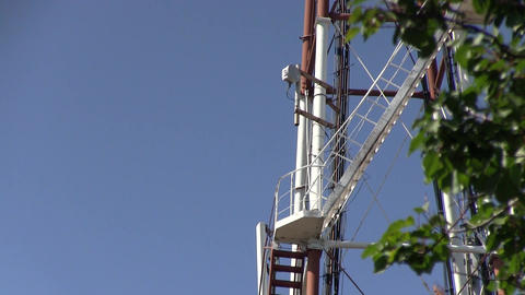 Telecommunication GSM 5G, 4G, 3G microwave tower Footage