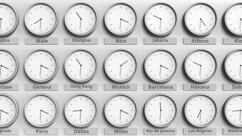 Round clock showing Munich, Germany time within world time zones. 3D animation Footage