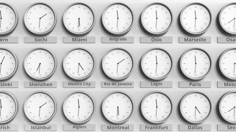 Round clock showing Rio de Janeiro, Brazil time within world time zones. 3D Live Action
