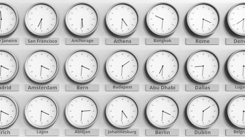 Round clock showing Budapest, Hungary time within world time zones. 3D animation Footage