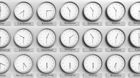 Round clock showing Shanghai, China time within world time zones. 3D animation Footage