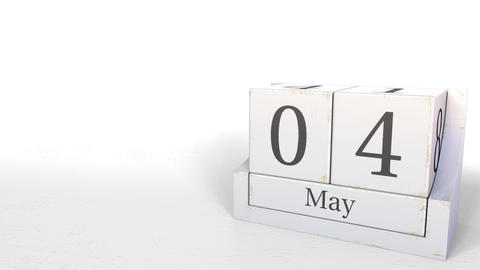 May 4 date on wooden blocks calendar. 3D animation Footage