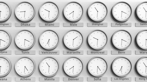 Round clock showing Marseille, France time within world time zones. 3D animation Footage
