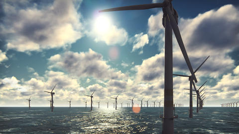 Offshore windmill farm in the ocean, windmills isolated in the ocean on a Animation