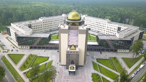 The new main building of Novosibirsk State University. Novosibirsk, Russia. Footage