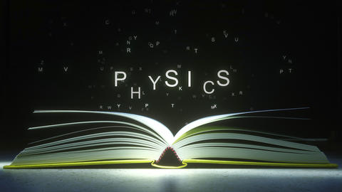 Letters fly off the open book pages to form PHYSICS text. 3D animation ライブ動画