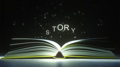 Letters fly off the open book pages to form STORY text. 3D animation ビデオ