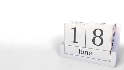 June 18 date on wood bricks calendar. 3D animation Footage