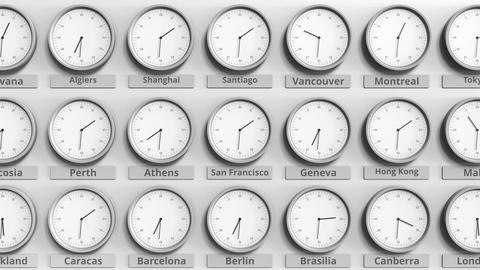 Round clock showing San francisco, USA time within world time zones. 3D Live Action