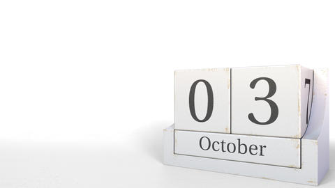 October 3 date on vintage cube calendar, 3D animation Footage