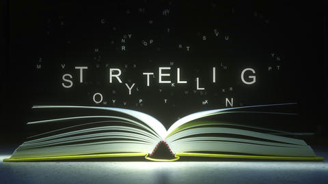 Letters fly off the open book pages to form STORYTELLING text. 3D animation Footage