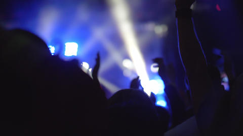 A slow motion of a crowd of fans at an evening music concert GIF