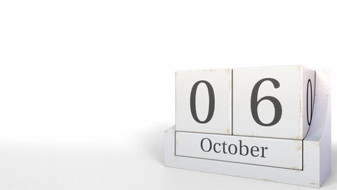 Cube calendar shows October 6 date. 3D animation Footage