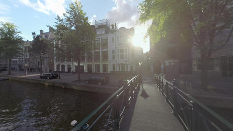 Amsterdam view with footbridge over the canal, Netherlands Archivo