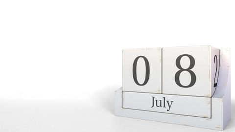 July 8 date on vintage cube calendar, 3D animation Footage
