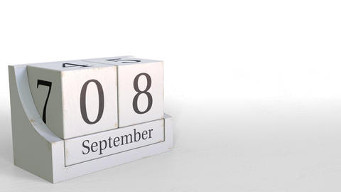 September 8 date on retro blocks calendar, 3D animation Footage