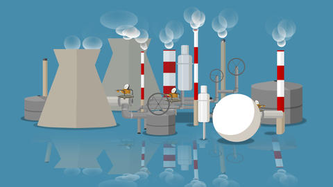 industrial landscape cartoon with reflection Animation