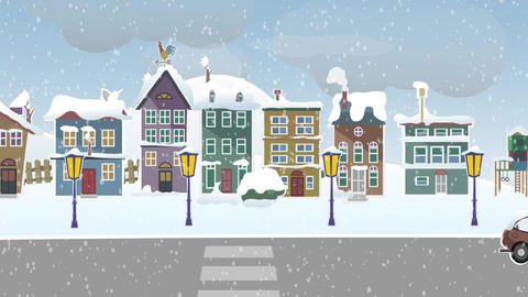 Winter landscape suburb street with snow Animation