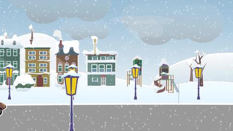 [alt video] Winter landscape suburb street with snow
