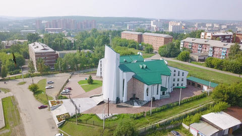Russia, Irkutsk. Cathedral of the Immaculate Heart of the Mother of God. Live Action