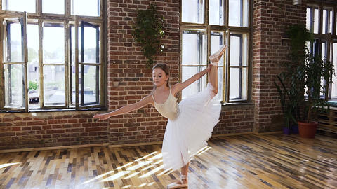 Graceful teen girl practicing exercise classical ballet in sport school Live Action