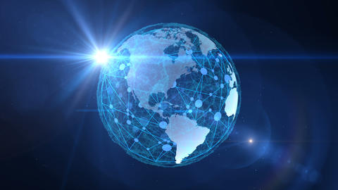 The global network encompasses the planet Earth.Virtual digital communication Animation