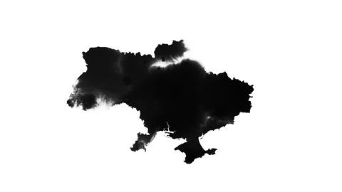 Map of Ukraine formed by ink drops on black background Live Action