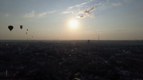 Aerial view of hot air balloons over Vilnius city, Lithuania. Hot air balloons Footage