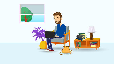 Animated man sitting in a livingroom armchair with laptop Animation