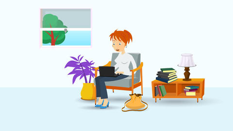 Animated Woman sitting in a livingroom armchair with laptop Animation
