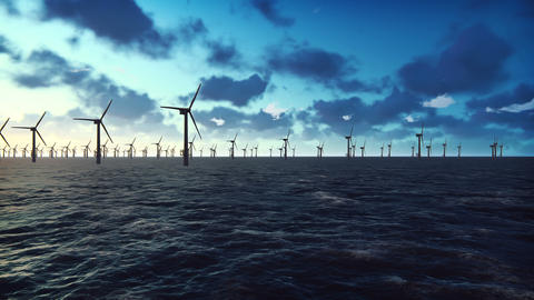Offshore windmill farm in the ocean at sunrise, windmills isolated in the ocean Animation