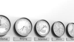 Round clock showing Istanbul, Turkey time within world time zones. Conceptual 3D Footage