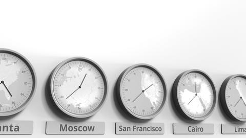 Round clock showing San Francisco, USA time within world time zones. Conceptual Footage