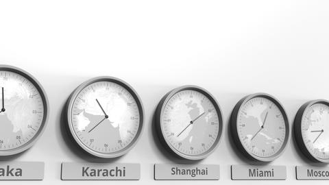 Round clock showing Shanghai, China time within world time zones. Conceptual 3D Footage