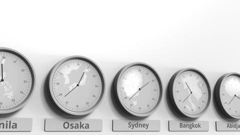 Round clock showing Sydney, Australia time within world time zones. Conceptual Footage