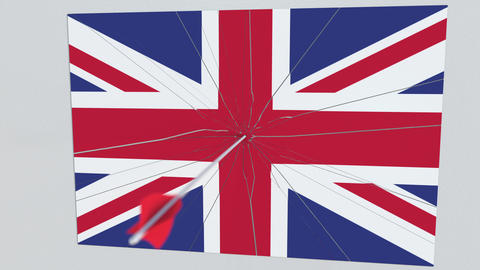 Flag of GREAT BRITAIN plate being hit by archery arrow. Conceptual 3D animation Live Action