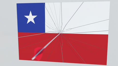 Archery arrow breaks plate featuring flag of CHILE. 3D animation Footage