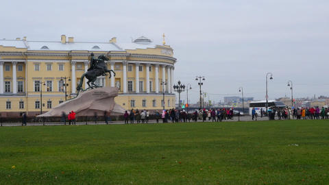 Senate square, a monument to Peter the great. Saint-Petersburg.Russia Live Action