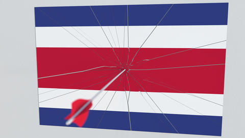 Archery arrow hits flag of COSTA RICA plate. Conceptual 3D animation Footage