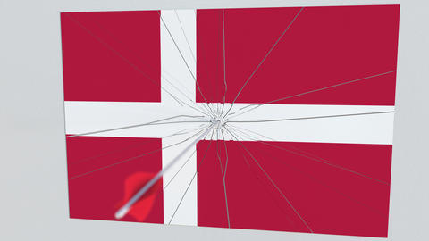 Archery arrow hits flag of DENMARK plate. Conceptual 3D animation Footage