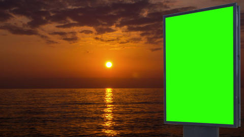 Billboard green screen on the background of sunset Footage